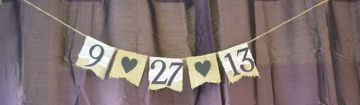 Burlap and lace wedding ideas. Burlap and lace date banner. Purple, eggplant, plum, and black themed wedding.