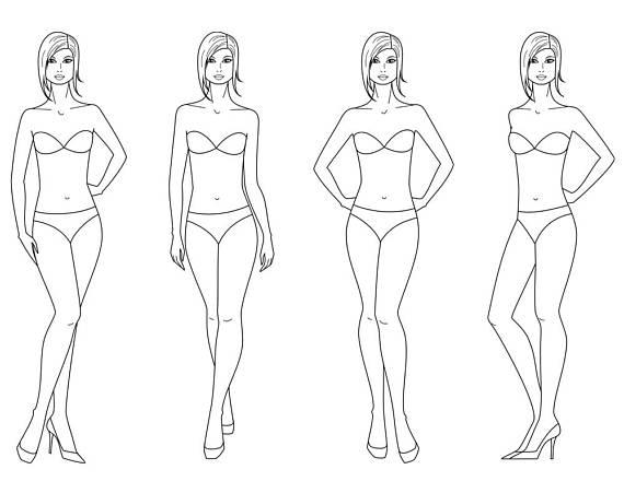 Female Silhouette Vector Sketchfashion Croquiswoman SilhouetteAdobe Illustrator Design Templatep