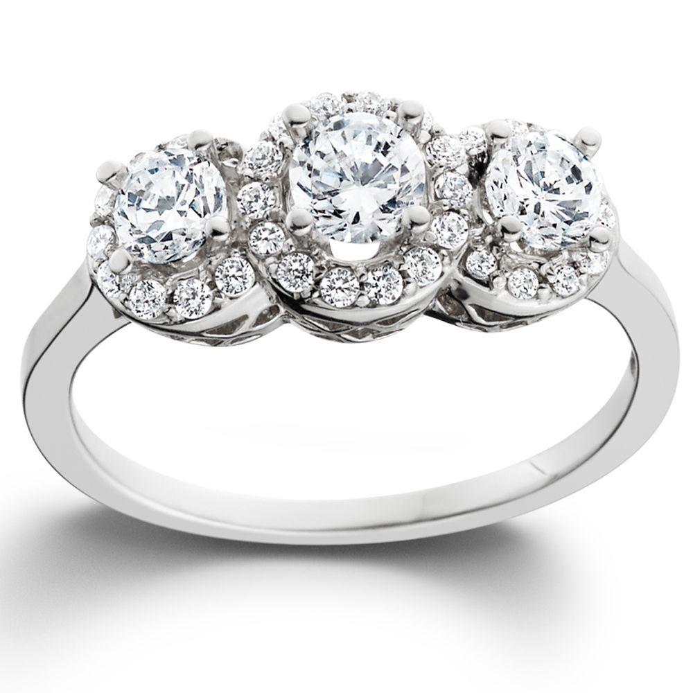 Miadora signature collection 14k white gold 1ct tdw diamond double row - 14k White Gold 1ct Tdw Diamond 3 Stone Engagement Ring I J I2