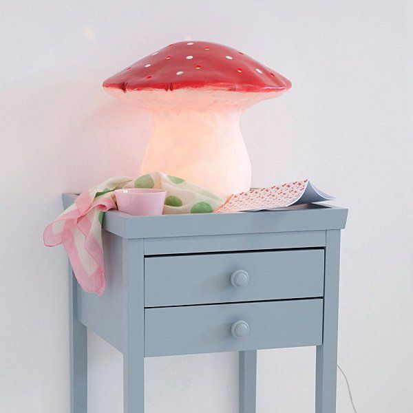 Alex bedside table (from AM.PM) painted in greyish blue & THE mushroom lamp    (from AM.PM. website)
