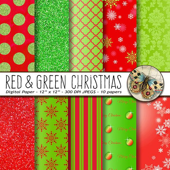 Christmas Digital Paper Red And Green Christmas Paper Etsy Digital Paper Christmas Paper Green Christmas