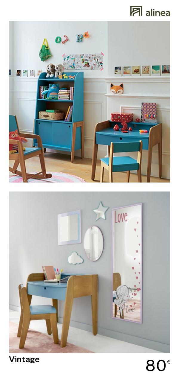 alinea vintage petit bureau vintage bleu pour enfant. Black Bedroom Furniture Sets. Home Design Ideas
