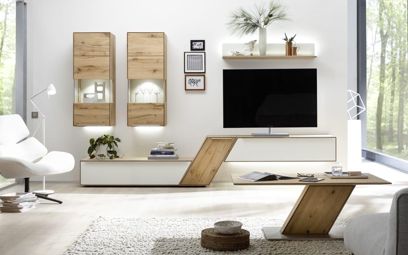 Wohnwand Ramos in Asteiche massiv bianco, gebürstet online bei HARDECK kaufen in 2020   Living ...