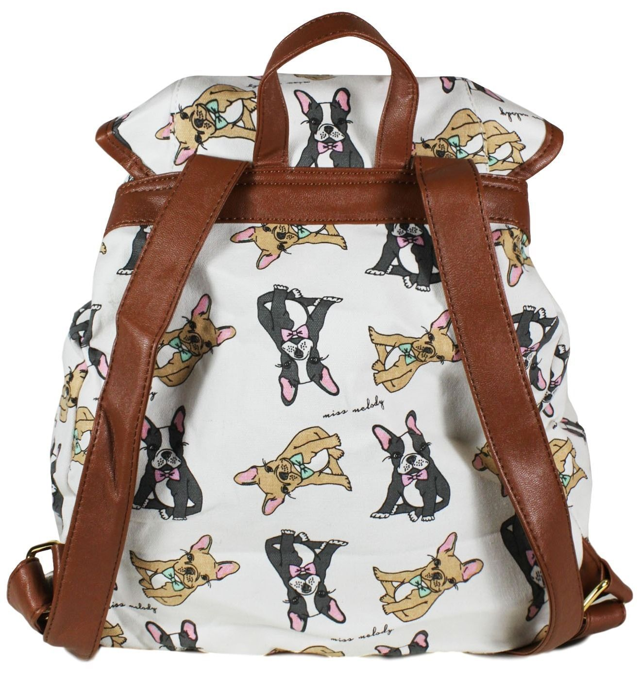 A Cream Backpack with a French Bulldog Print, Cute Dog