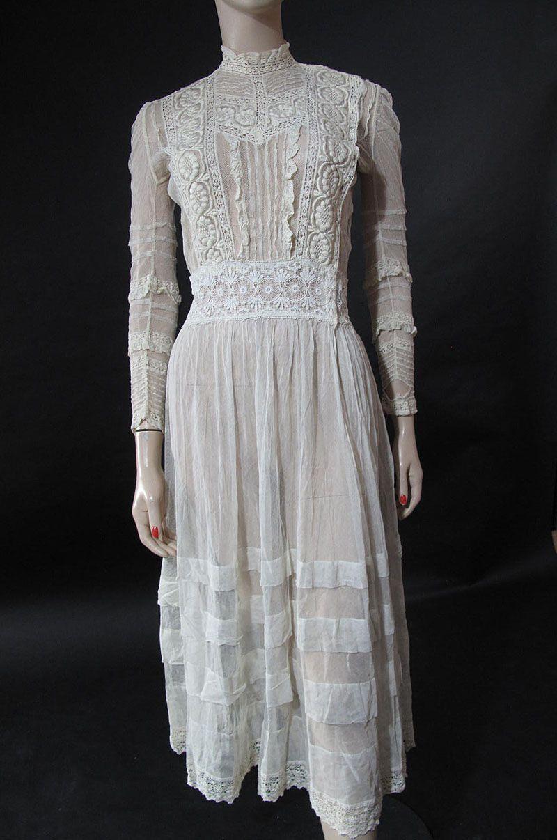 Creamy white edwardian mixed lace tea dress edwardian