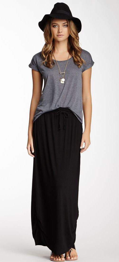 gray tee   black maxi skirt   gold jewelry for a comfy, casual ...