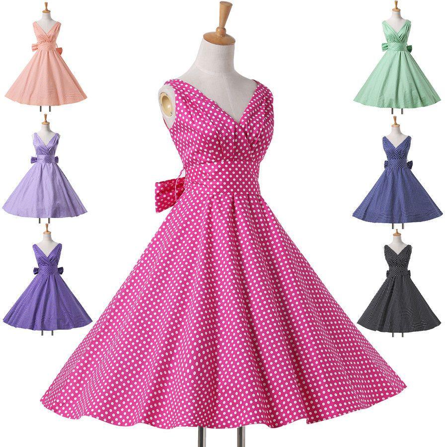 0a356e50416a Abito Donna Vintage Stile Anni 50 70 60 Festa da Ballo Swing Tea Corto  Vestiti b
