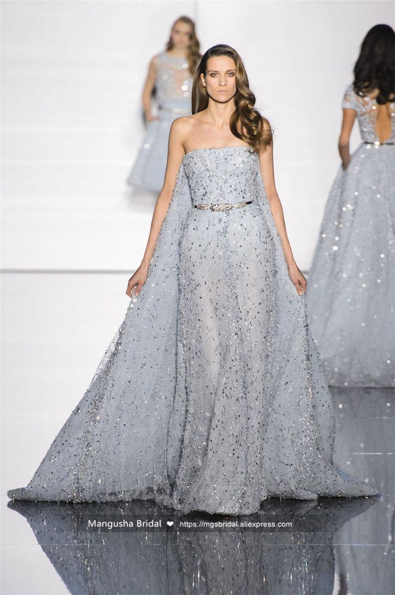 2016 Zuhair Murad Design Abendkleid Luxus Perlen Trägerlose ...