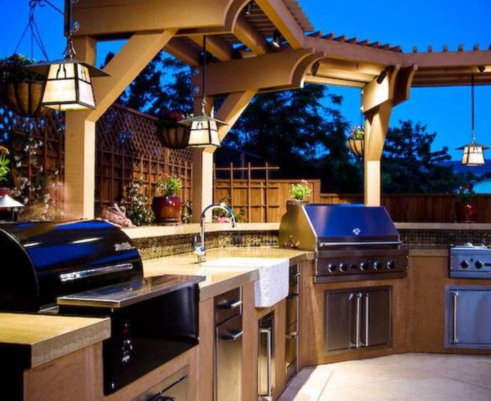 Outdoor Kitchen Lights Outdoor kitchen island lighting kitchen island lighting 14 luxury modern outdoor kitchen with hardwood cabinet and countertops workwithnaturefo