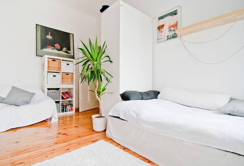 Helles Wohn- Schlafzimmer in super schöner 1-Zimmerwohnung in - wohn und schlafzimmer