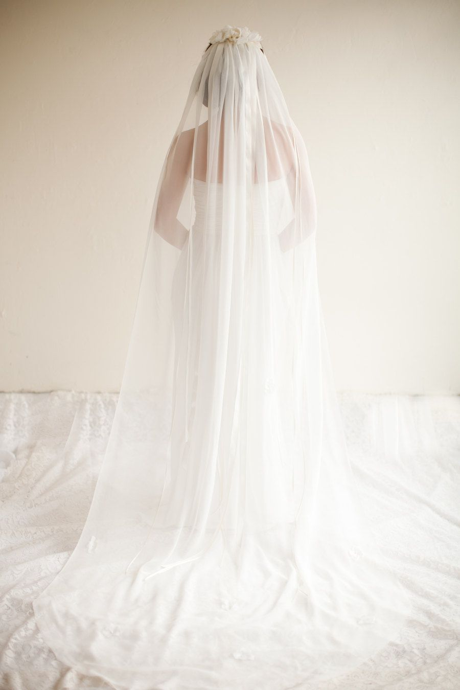 Long veil wedding dresses  Silk Chiffon Cathedral Veil with Ribbons Cathedral Veil Silk