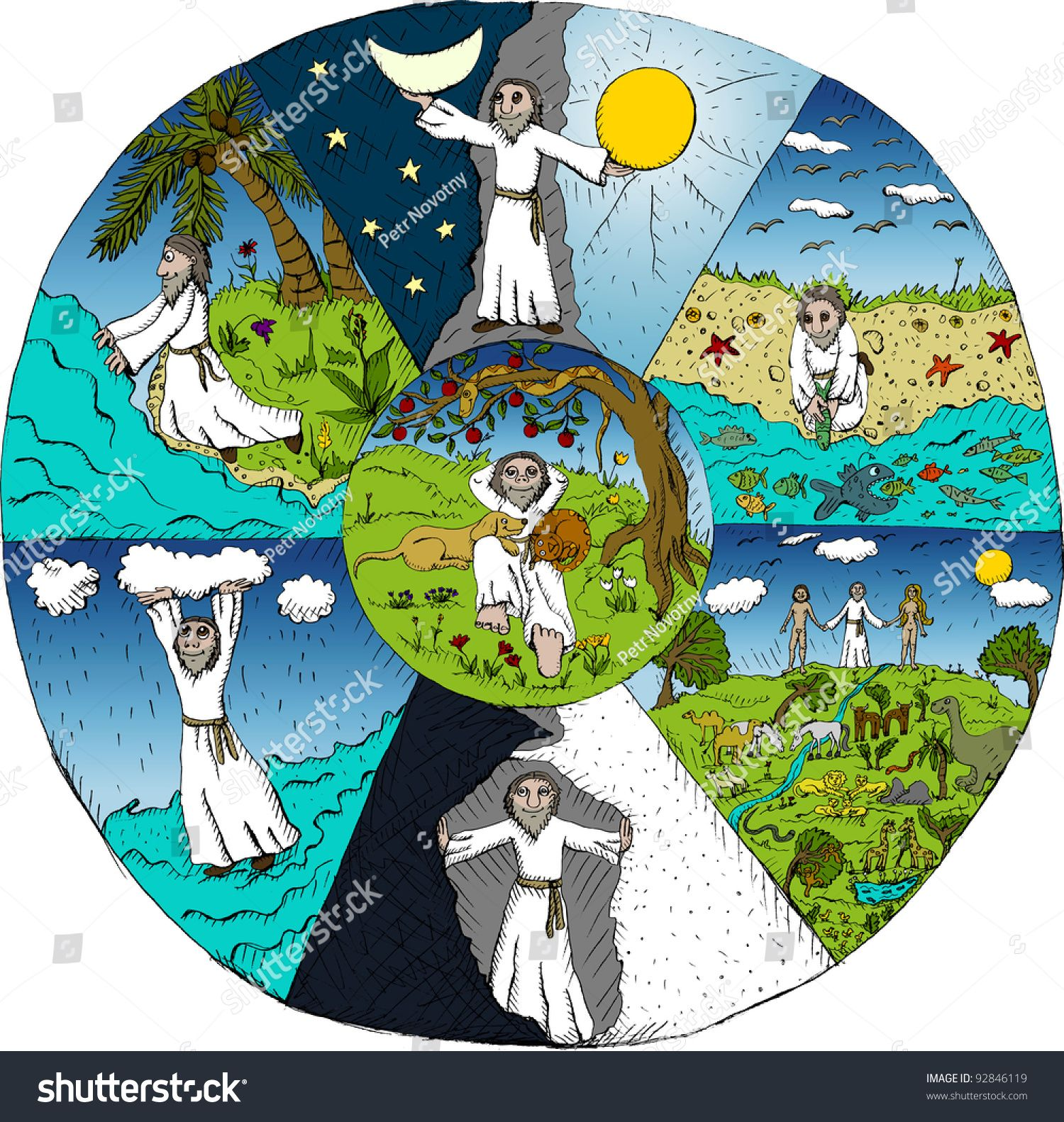 Vector Illustration Of Creation Of The World