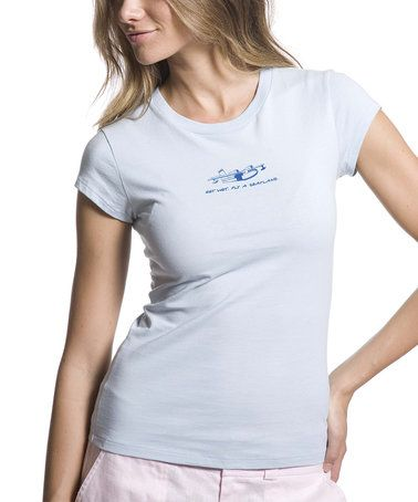 Loving this Light Blue Sea Plane Cap-Sleeve Top on #zulily! #zulilyfinds