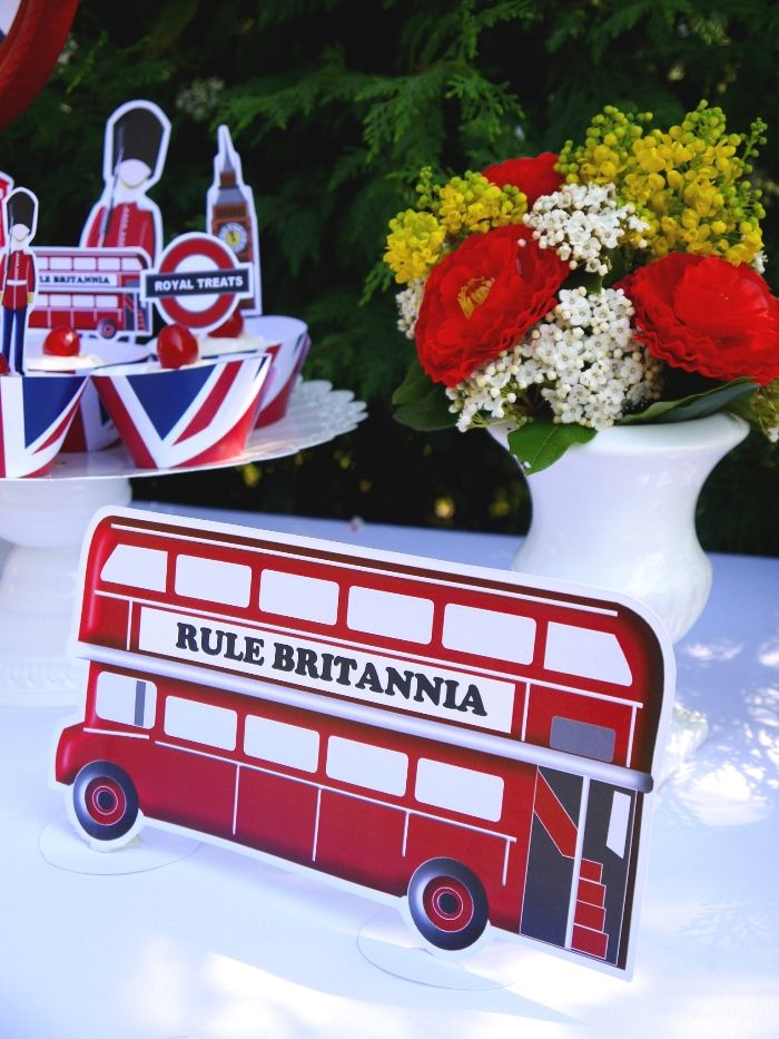 British uk london birthday party printables supplies for Decoration theme angleterre