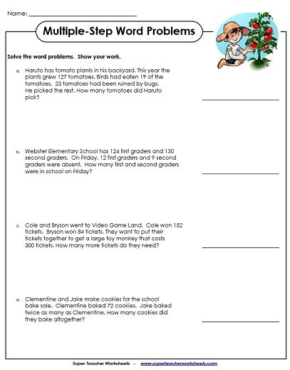 Word Problem Worksheets Word Problems 3rd Grade Math Word Problems Multi Step Word Problems