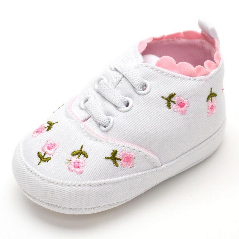 4dd0ccebc88 Nuevos Zapatos de los Bebés Zapatos de Lona Transpirable 0-1 Años Niñas  Zapatos Flores
