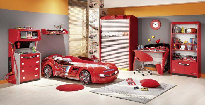 schöne kinderzimmer bett in form von auto rotes bett im zimmer von ...