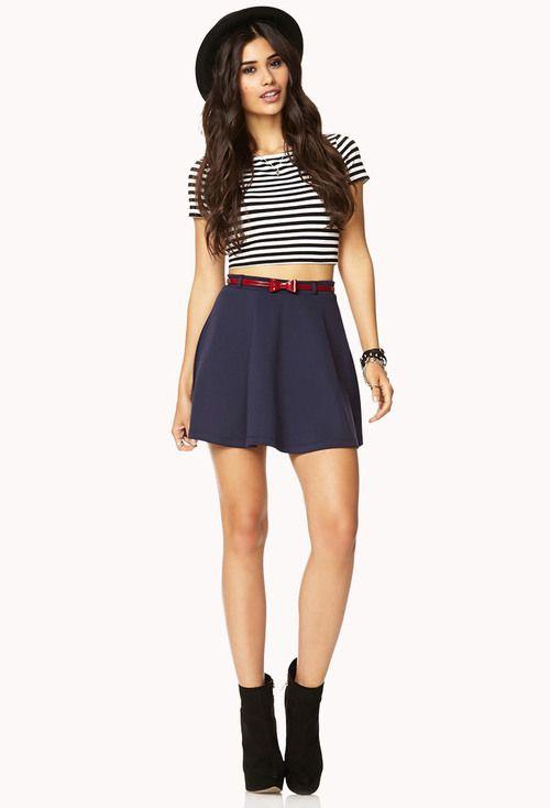 76edeb0bc6 Scuba Knit Skater Skirt w/Belt | FOREVER21 - 2075446195 | My Style ...