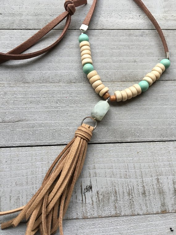 Long Amazonite Necklace with Gray Suede Tassel