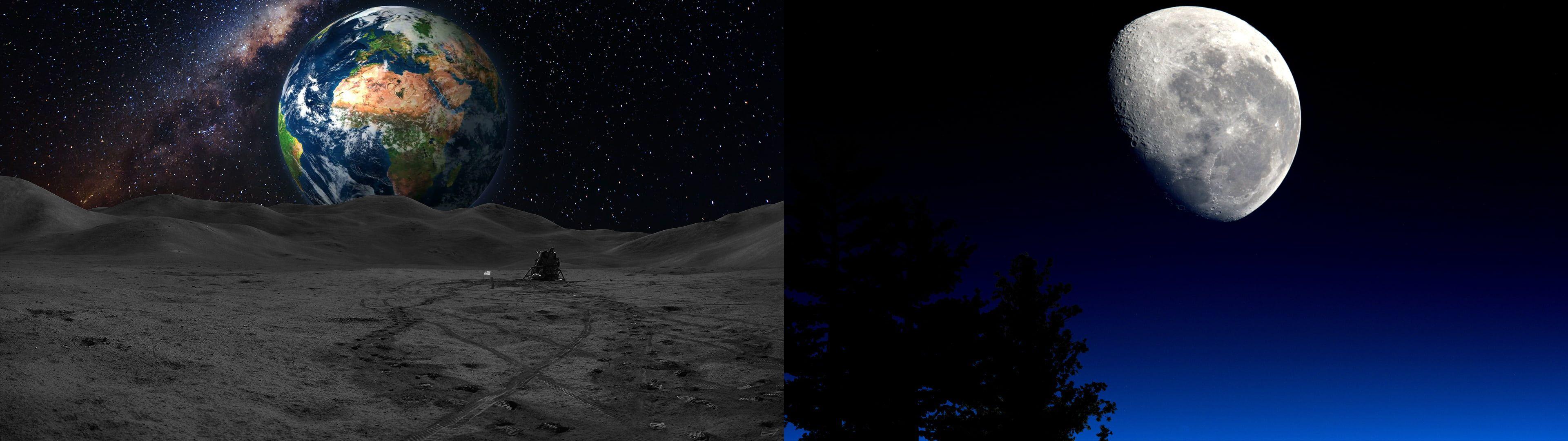 Dual Monitors Moon Earth Space 4k Wallpaper Hdwallpaper Desktop Wallpaper Astronomy Earth From Space