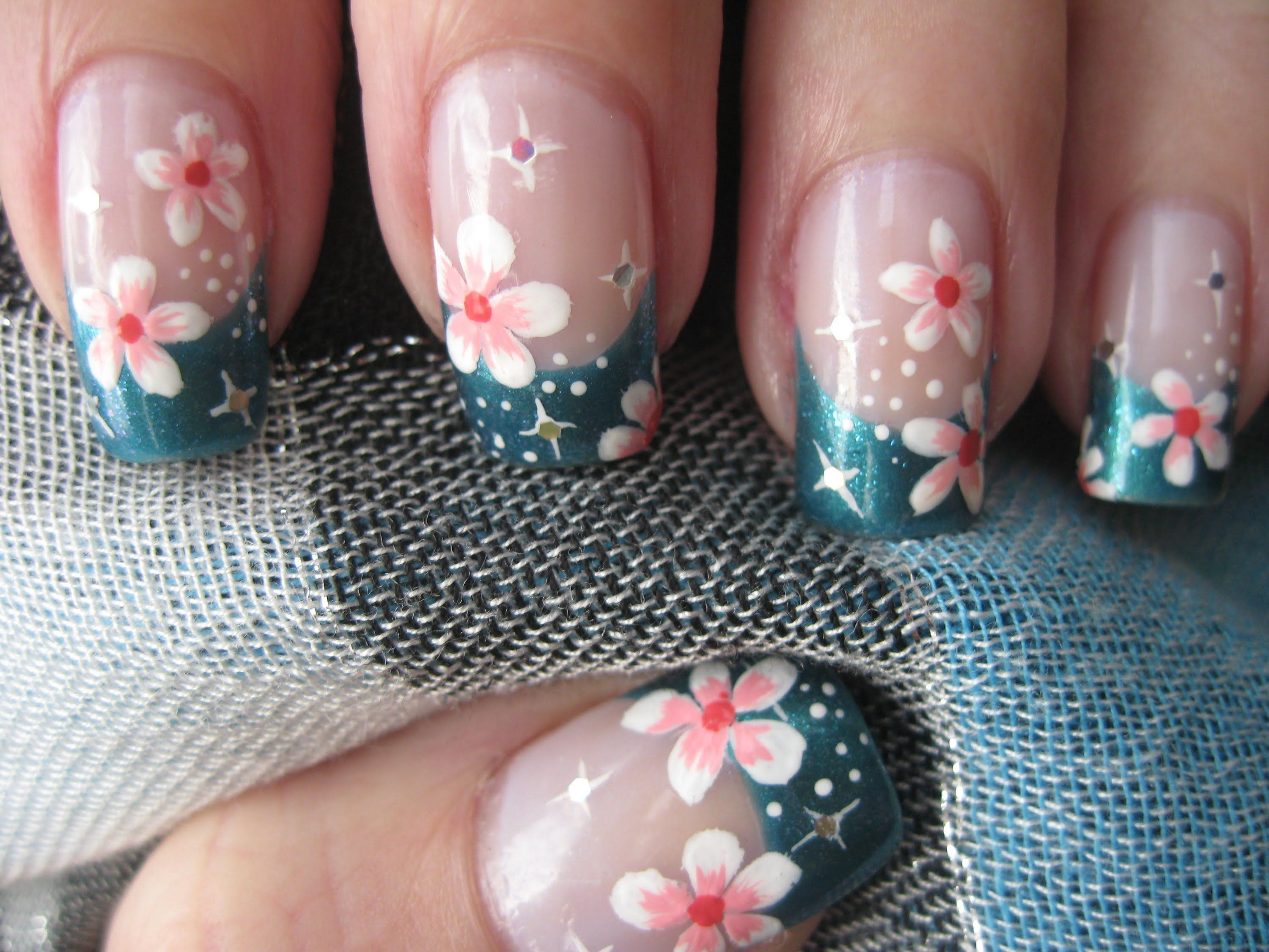 Nail art: French tip with flowers and stars | Easy & Detailed Nail ...