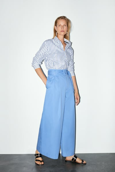 8b1b0969c5 ZARA - Female - Wide leg belted pants - Mid-blue - Xs   Products in ...