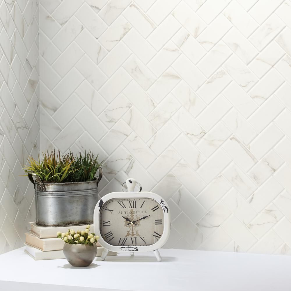 Marazzi Developed By Nature Calacatta 12 In X 14 In X 6 Mm Glazed Ceramic Herringbone Mosaic Tile Dn112 Mosaic Flooring Shower Floor Tile Floor And Wall Tile
