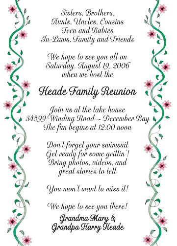 Family Reunion Invitation, Style fr- Family Reunion Pinterest - family gathering invitation wording