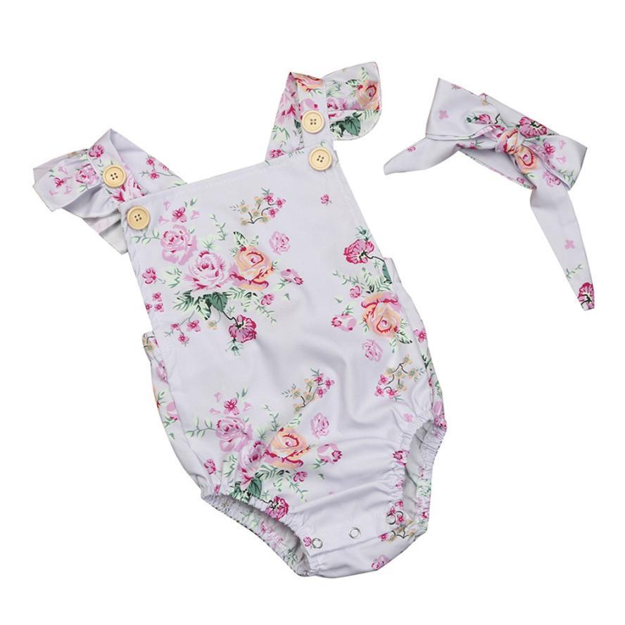 Baby Girls Floral Romper+Headband Set #babygirlheadbands