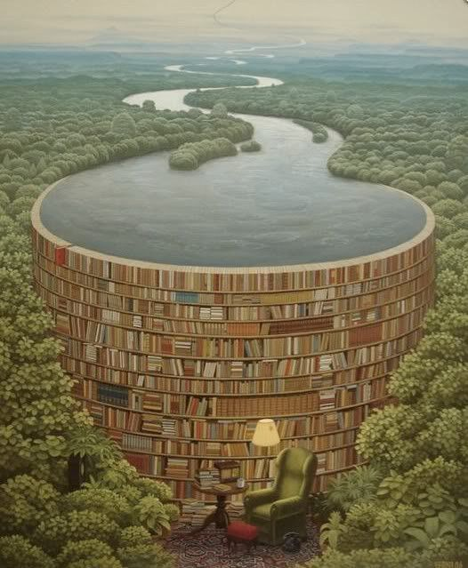 Cindy's Book Club: Bookish Images. Wouldn't it be wonderful to come across this as you trek through the undergrowth?