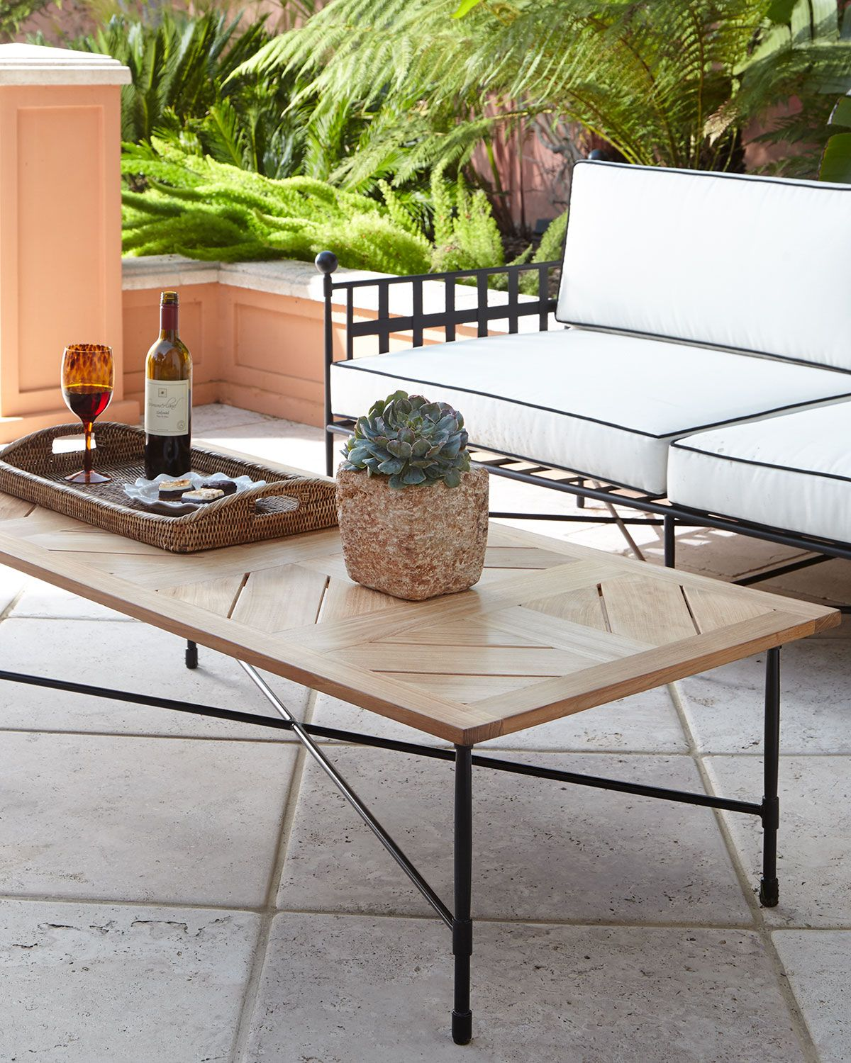 Avery Neoclassical Teak Outdoor Coffee Table With Images Teak Outdoor Coffee Table