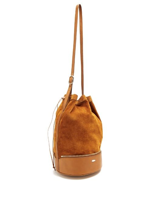 F.E.V. by Francesca E. Versace Almond self-stowing suede bucket bag ... 95b09ab746b96