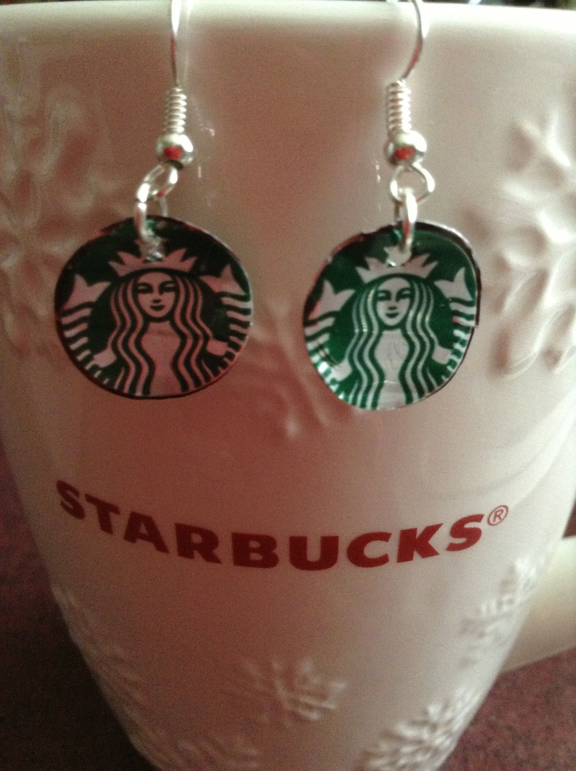 Starbucks Earrings made for cans. Christmas ornaments