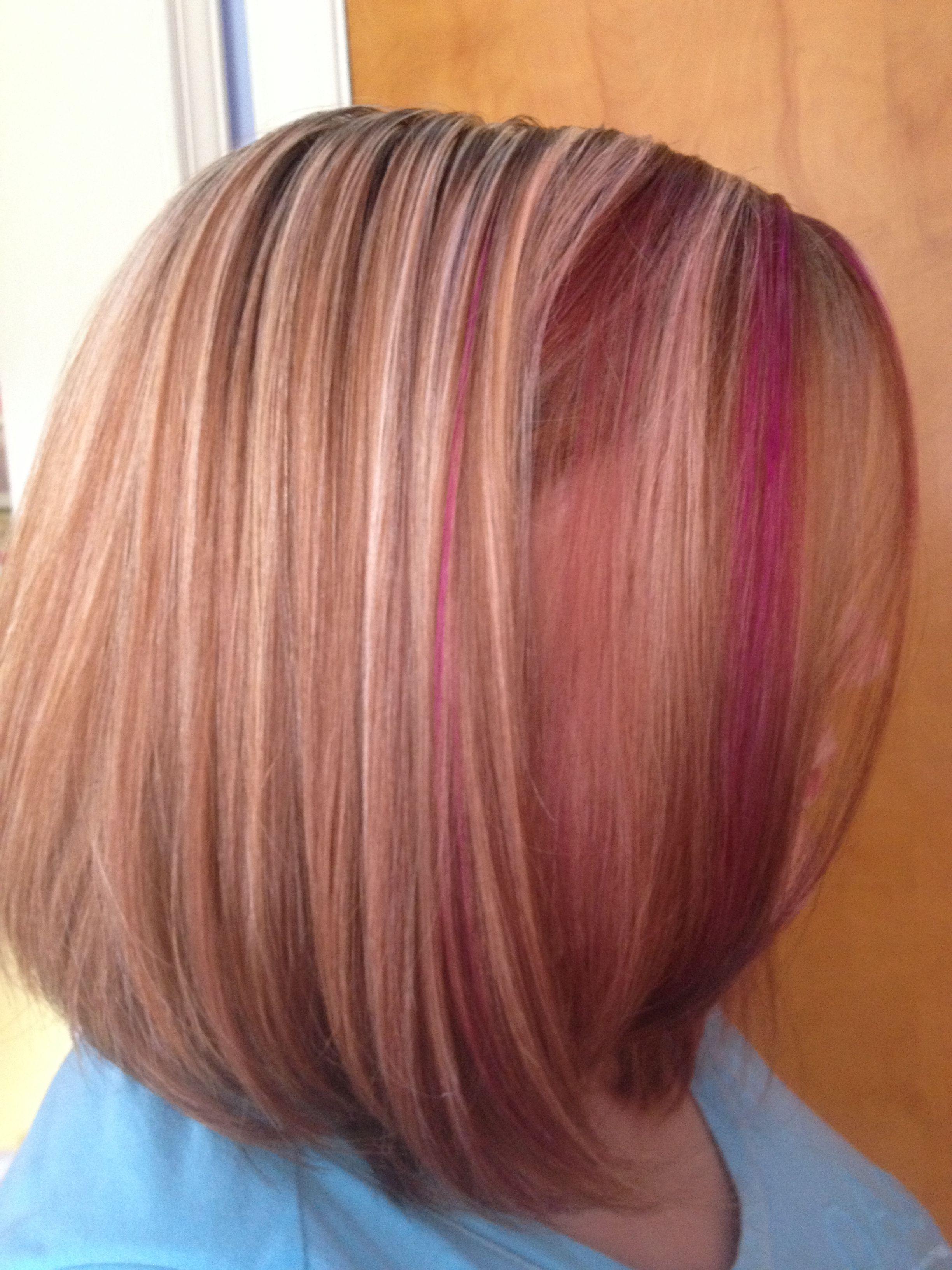 Blonde and fushia lowlights on razor haircut  Saraus hair creations