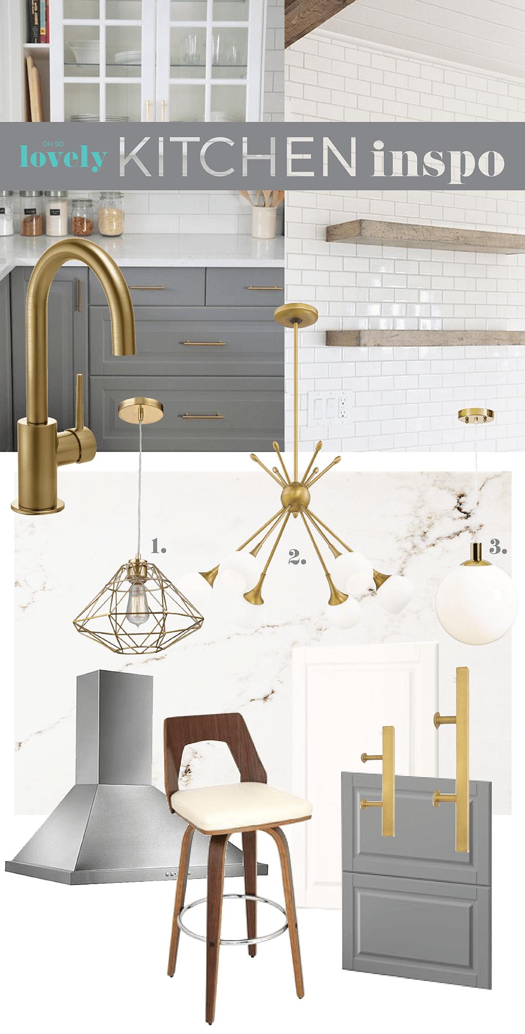 IKEA kitchen design inspiration mood board DIY Brushed brass