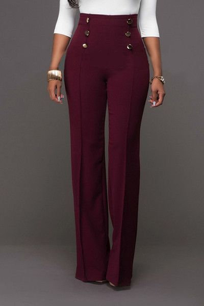 9fc50685f260e4 Trendy High Waist Double-breasted Decorative Wine Red Polyester Pants