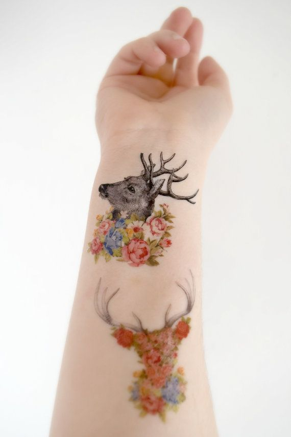 0a3dbc1c16db3 3 Floral Deer Temporary Tattoo's - Woodland, Floral Collection, Spring,  Spring Accessories, Vintage, Vintage Tattoo, Wild Flowers