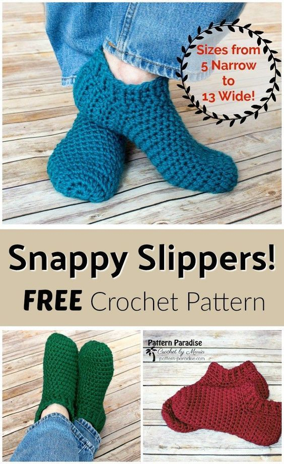 Free Crochet Pattern: Snappy Slippers   Free crochet, Paradise and ...