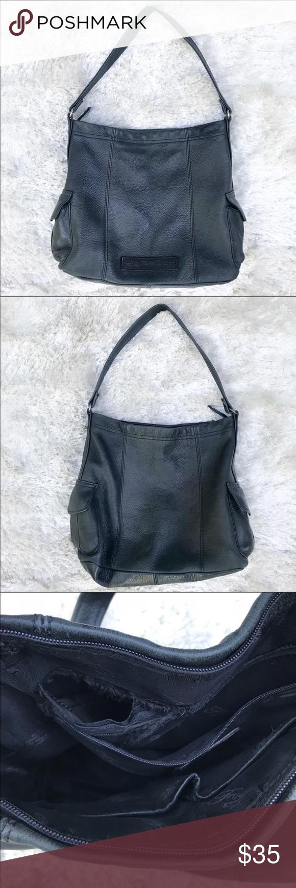 Fossil Black Leather Shoulder Bag Supple Black Leather is