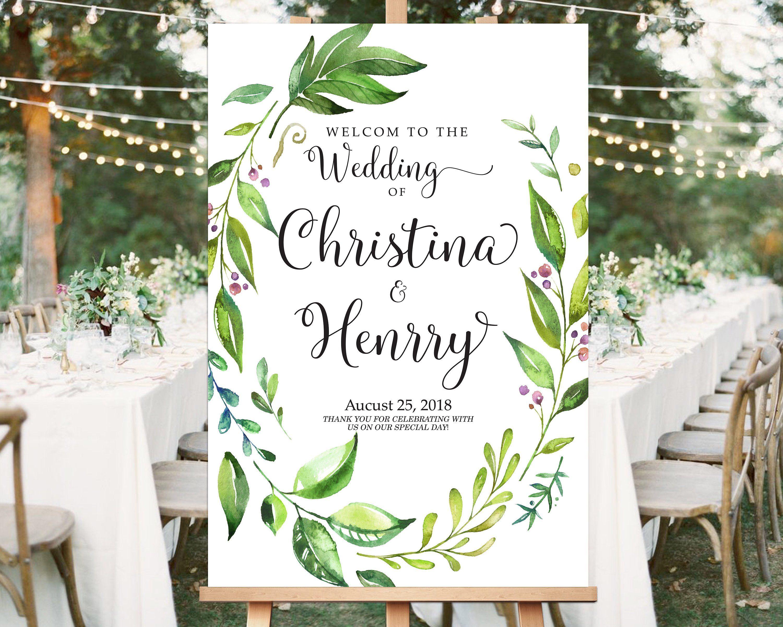 Greenery Welcome Wedding Sign Template Editable Wedding Sign
