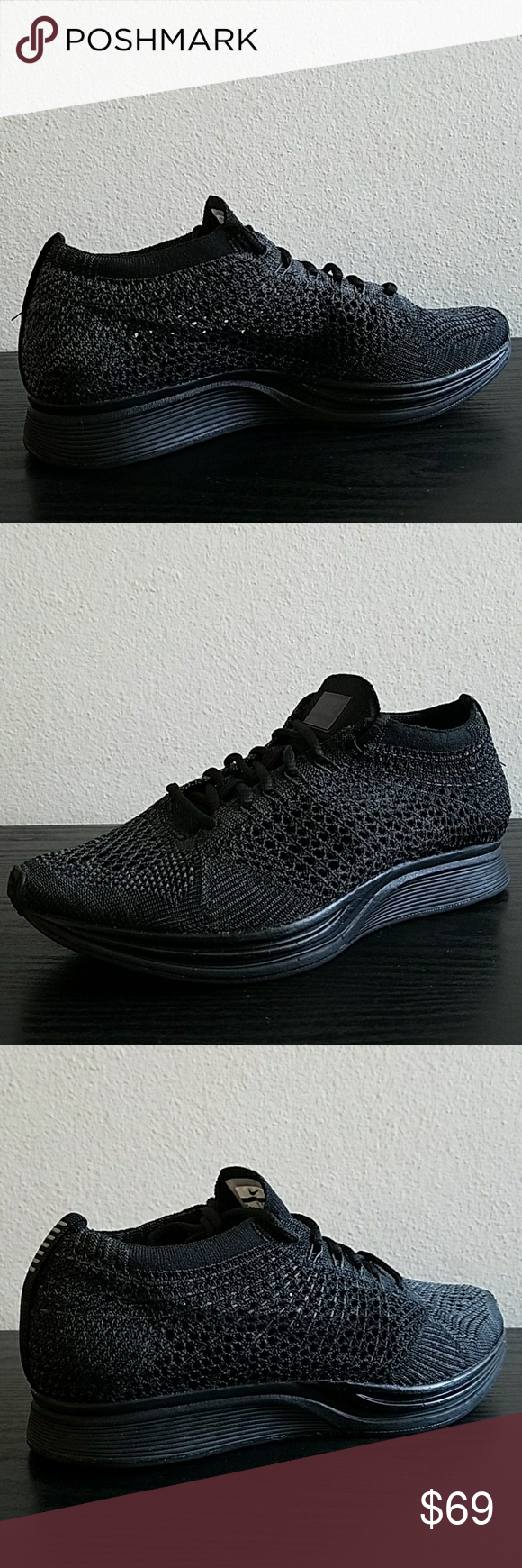 5969b30b86afd Nike Flyknit Racer Black Nike 526628 009 New Nike Air Flyknit Racer Unisex Running  Shoes Nike 526628 009 Color  Black Black-Black Size  Mens 5.5   Women s 7  ...