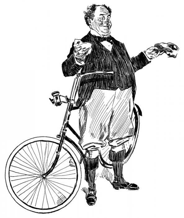 Рисунки карандашом - Рисунки Чарльза Гибсона. . Велосипедист