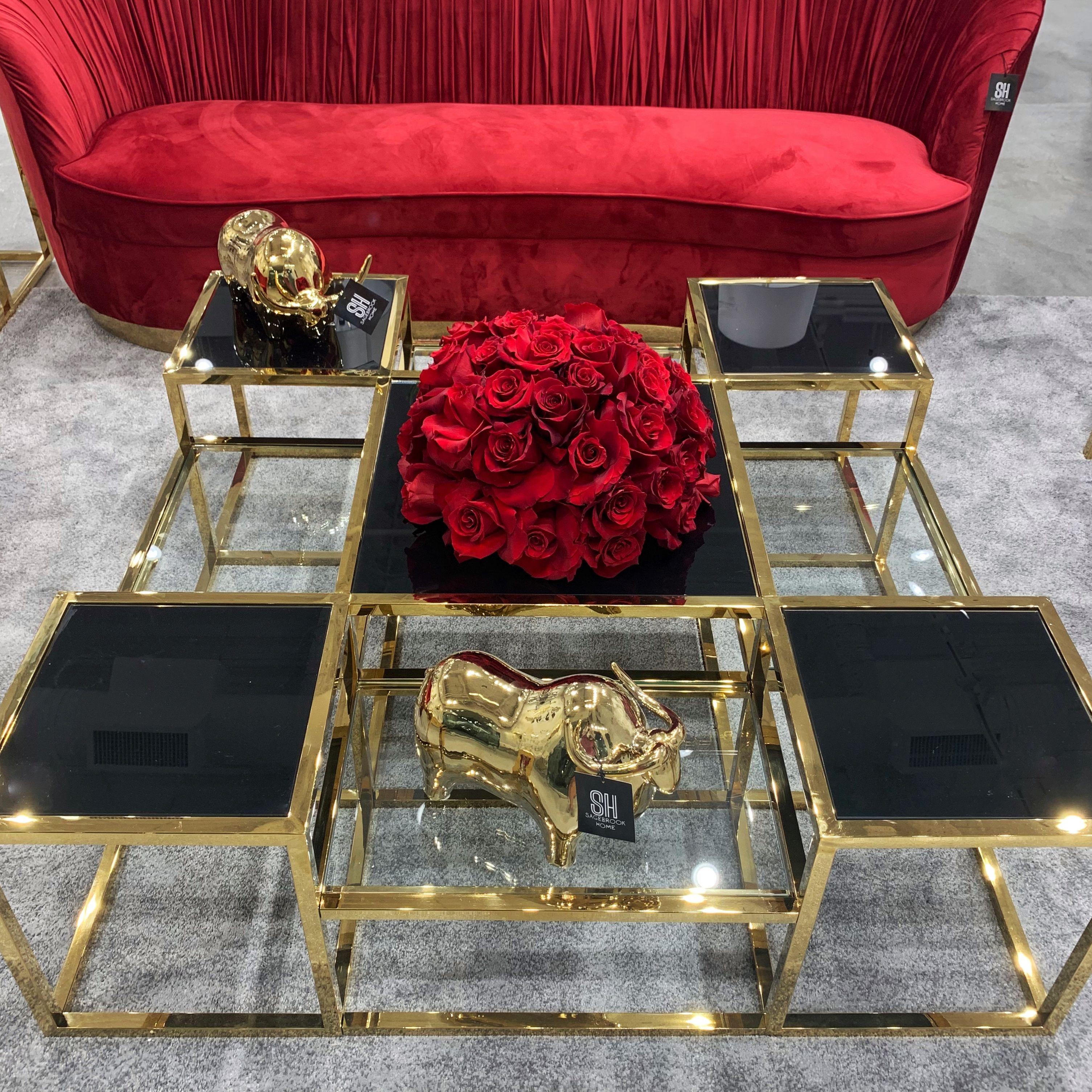 Black Glass Gold Metal Multi Level Cocktail Table Sagebrookhome