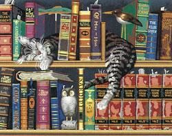 Owl Cats DIY Diamond Painting Bookshelf Embroidery Cross Stitch Craft Decor