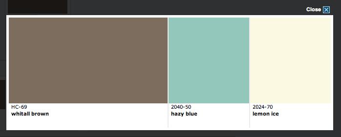 Color scheme - Benjamin Moore  Wall color - blue. Headboard - ivory. Accent color - brown.