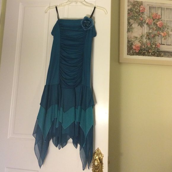Blue strapless dress. Worn once with flower decor Rampage Dresses Strapless