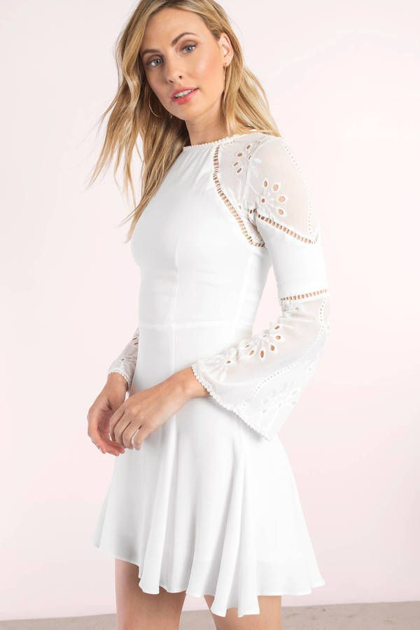 79c7d578526 Marine White Lace Bell Sleeve Skater Dress at Tobi.com  shoptobi ...