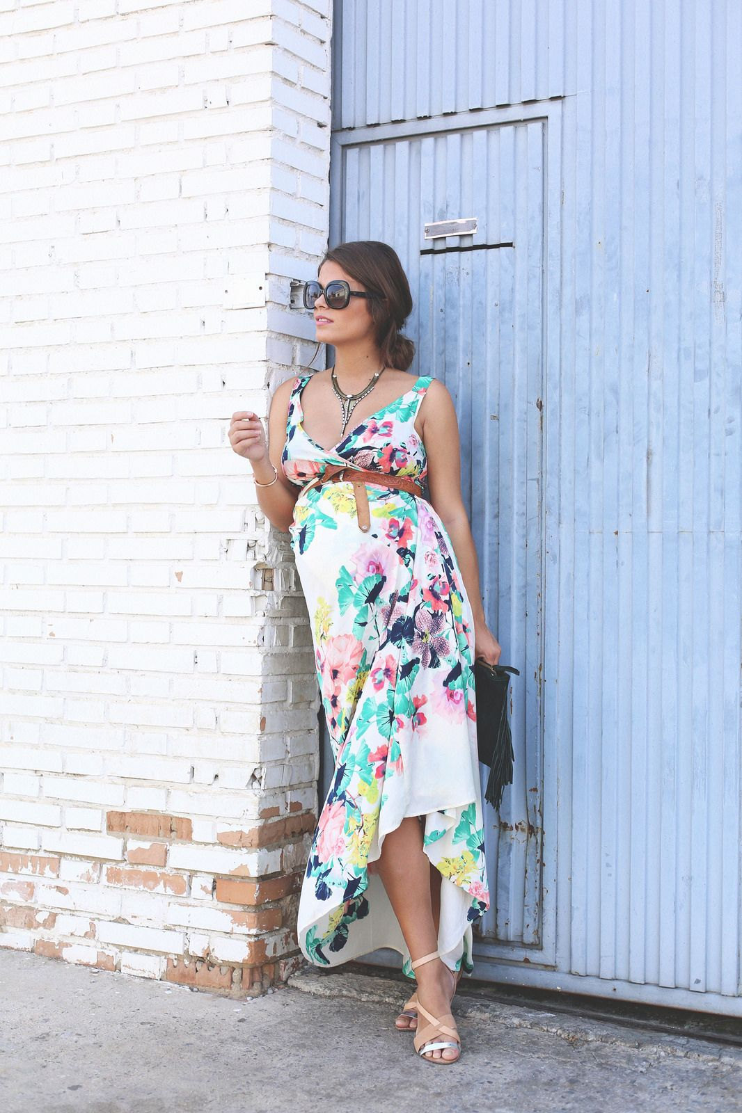 long floral boho folk dress jessie chanes pregnancy decote