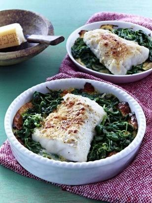 Fisch-Gratin mit Spinat Rezept Low carb, Cooking fish and Food