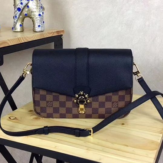 ab0d6f53de28 Louis Vuitton Damier Ebene Canvas Calfskin Clapton PM Bag Noir N44243 2018